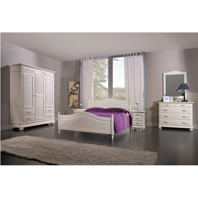 camera da letto doppia in legno massello di abete bianca spazzolata