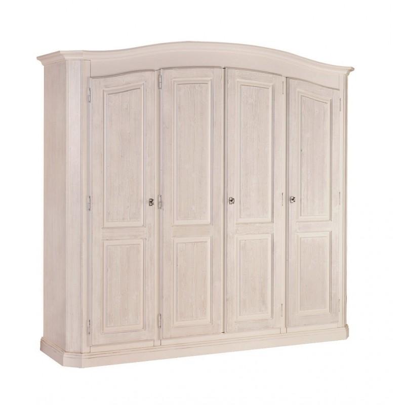 mobile armadio quattro ante in stile classico color bianco spazzolato