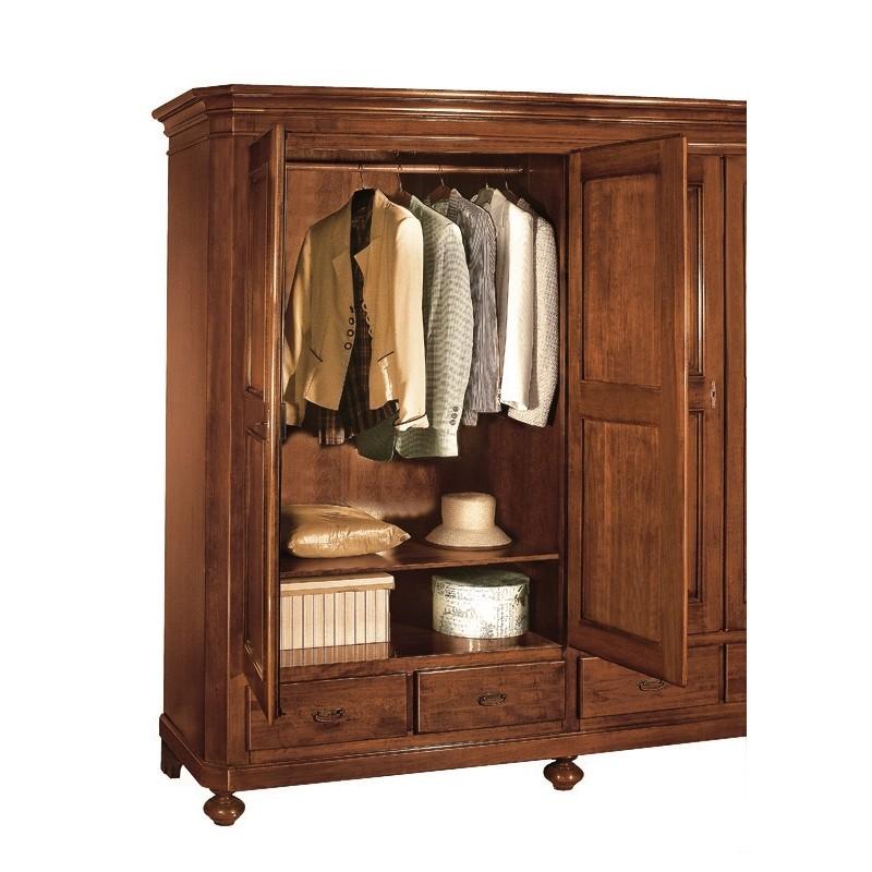armadio tre ante artepovera in legno massello
